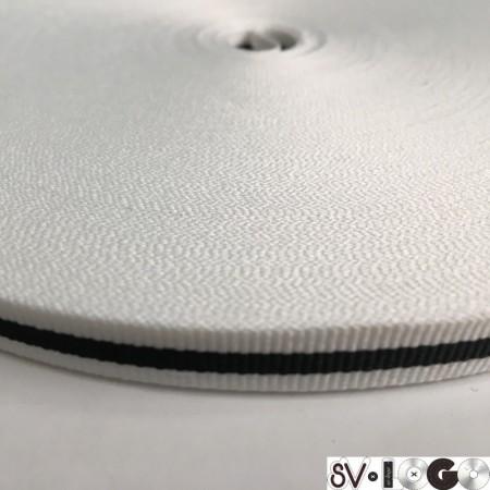 Тесьма репсовая производство 10мм белая 1п черная (50 метров)