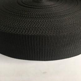 Тесьма-лента ременная производство 50мм черная репс (50 метров)