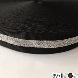 Тесьма репсовая производство 30мм черная 1п серебро (50 метров)