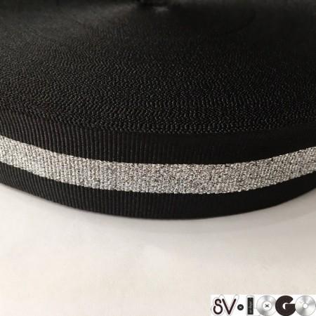 Тесьма репсовая производство 30 мм черная 1п серебро (50 метров)