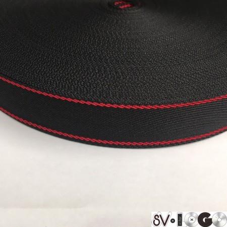 Тесьма репсовая производство 25 мм черная 2п красные (50 метров)