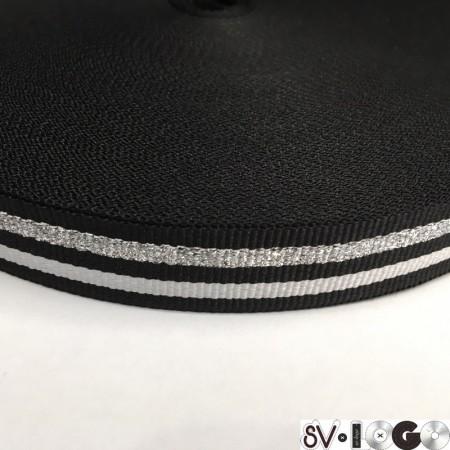 Тесьма репсовая производство 25 мм черная 2п серебро (50 метров)