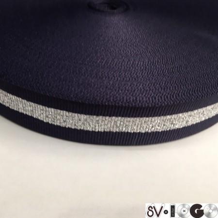 Тесьма репсовая производство 25 мм синяя 1п серебро (50 метров)
