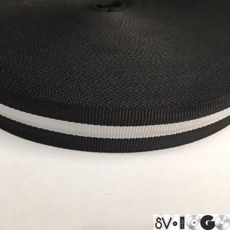 Тесьма репсовая производство 25 мм черная 1п белая (50 метров)