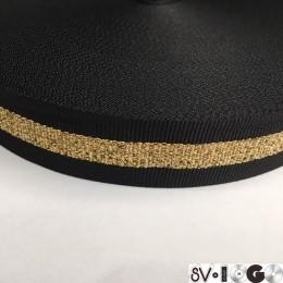 Тесьма репсовая производство 30мм черная 1п золото (50 метров)