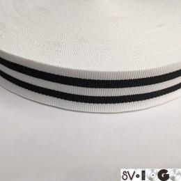 Тесьма репсовая производство 30мм белая 2п черные (50 метров)