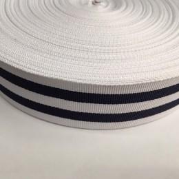 Тесьма репсовая производство 40мм белая 2п синие (50 метров)