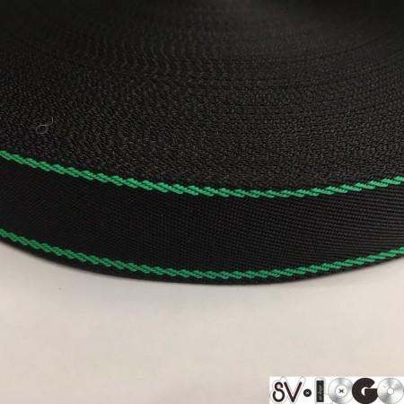 Тесьма репсовая производство 25 мм черная 2п зеленый (50 метров)
