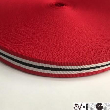 Тесьма репсовая производство 20 мм красный 1п черная 2п белых (50 метров)