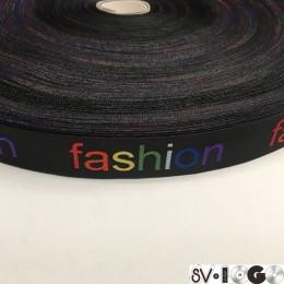 Этикетка жаккардовая вышитая Fashion 20мм лента цветная (100 метров)