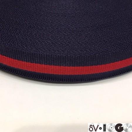Тесьма репсовая производство 20 мм синяя 1п красная (50 метров)