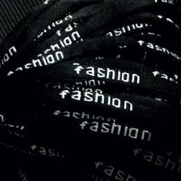 Шнур круглый с логотипом  fashion 6мм черный (метр )