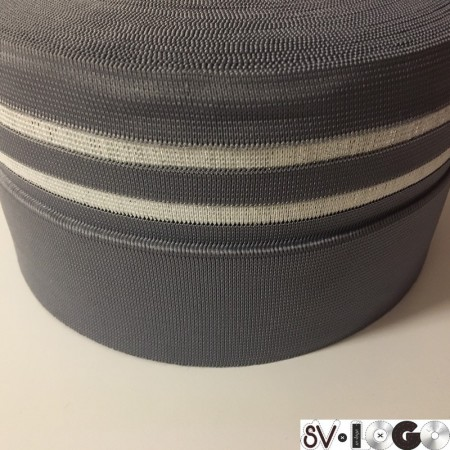 Резинка 130мм для манжетов серая 2 полосы белые (метр )